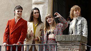 Итальянская группа Maneskin в мэрии Рима на вручении главной премии города