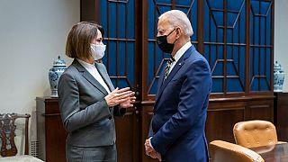 "Joe Biden said on Twitter he was ""honoured"" to meet Sviatlana Tsikhanouskaya at the White House."