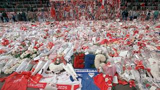 Floral tributes were placed at Anfield's 'Kop' two days after the 1989 disaster.