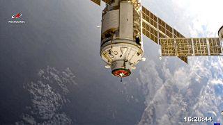 """وحدة """"ناؤوكا"""" العلمية الروسية الجديدة قبل عملية الالتحام بمحطة الفضاء الدولية، الخميس 29 يوليو 2021"""
