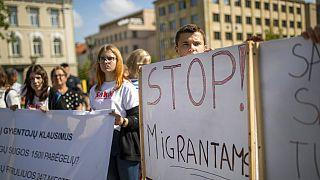 Demonstrierende am Donnerstag vor dem Regierungspalast in Vilnius
