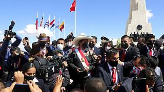 El presidente de Perú, Pedro Castillo, en la Pampa de la Quinua en Ayacucho