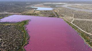 Laguna de Corfo en la provincia de Chubut, Argentina