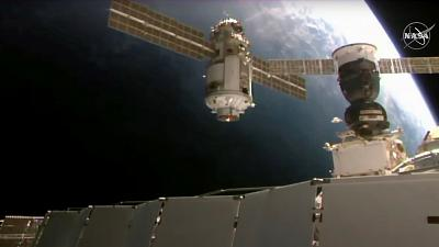Nauka module as it approaches the International Space Station space station