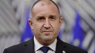 Bulgaria's President Rumen Radev speaks to the media at an EU summit in May.