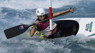 Jessica Fox of Australia competes in the Women's C1 of the Canoe Slalom at the 2020 Summer Olympics, July 29, 2021, in Tokyo, Japan.
