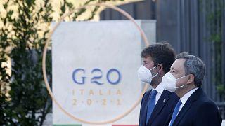 Dario Franceschini und Mario Draghi beim G20-Kulturgipfel
