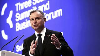 Poland's President Andrzej Duda, speaks during press conference of Three Seas Summit at National Palace of Culture in Sofia, Friday, July 9, 2021.