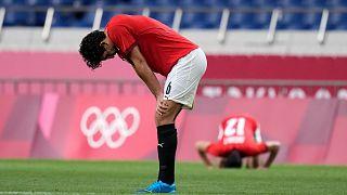 لاعبو منتخب مصر الأولمبي عقب الهزيمة أمام البرازيل