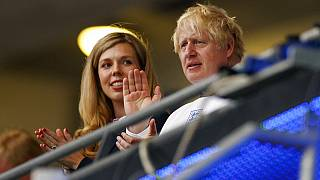 British Prime Minister Boris Johnson and his wife Carrie watch the Euro 2020 soccer championship final between England and Italy at Wembley stadium in London.