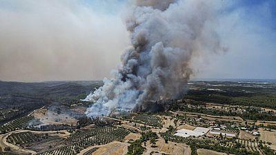 n aerial photo shows wildfires in Kacarlar village near the Mediterranean coastal town of Manavgat, Antalya, Turkey, Saturday, July 31, 2021.
