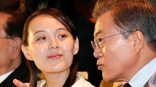کیم یو جونگ، خواهر رهبر کره شمالی در کنار مون جائه این، رئیسجمهوری کره جنوبی در سال ۲۰۱۸