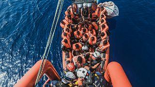 El barco humanitario Ocean Viking rescata a personas frente a la costa maltesa, 1 de agosto de 2021