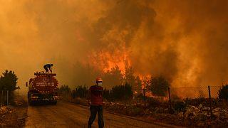 Manavgat'ta yangın söndürme çalışması