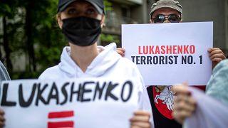 Litvanya'da Belarus protestosu