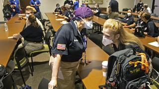 Healthcare workers from around the country arrive to help supplement the staff at Our Lady of the Lake Regional Medical Center in Baton Rouge, Monday, Aug. 2, 2021.
