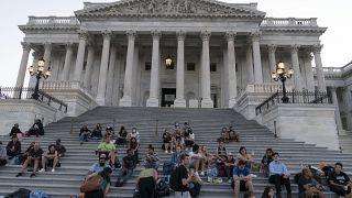 Protesta frente al Congreso de EEUU contra el fin de la moratoria antidesahucios