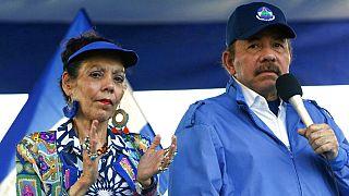El presidente nicaragüense, Daniel Ortega,  y la vicepresidenta, Rosario Murillo, en una imagen tomada en 2018