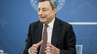 Italian Premier Mario Draghi speaks at a press conference at Chigi Palace government office in Rome, Thursday, July 22, 2021.