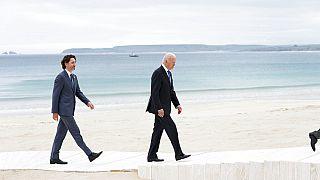 صورة من الارشيف - الرئيس الأمريكي جو بايدن ورئيس الوزراء الكندي جاستن ترودو -11 يونيو 2021