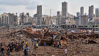 الانفجار بالقرب من المرفأ في العاصمة اللبنانية بيروت. في الرابع من آب (أغسطس) 2021