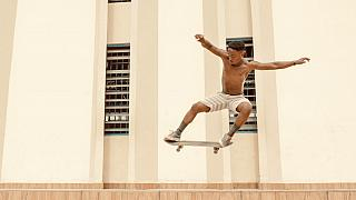 A member of the Surf Ghana collective skateboarding in Accra
