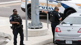 Police secure a parking lot outside the Pentagon Metro area Tuesday, Aug. 3, 2021, at the Pentagon in Washington.