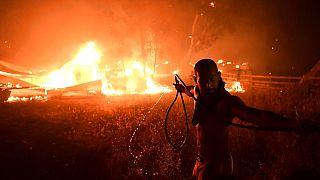 Un hombre lucha contra le fuego en Adames, al norte Atenas, Grecia
