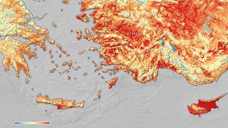 خريطة لوكالة الفضاء الأوروبية تم إنشاؤها باستخدام بيانات من مقياس إشعاع درجة حرارة سطح الأرض والبحر التابع لكوبرنيكوس سينتينل 3 في 2 أغسطس 2021.