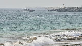 An Emirati Coast Guard vessel patrols off Fujairah, United Arab Emirates, Wednesday, Aug. 4, 2021.