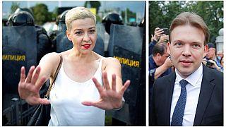 Marija Kalesznyikava és Makszim Znak, az ellenzéki Koordinációs Tanács (KT) elnökségének két tagja