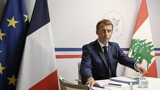 الرئيس الفرنسي إيمانويل ماكرون أثناء افتتاحه للمؤتمر الدولي لدعم لبنان، عبر تقنية الفيديو كونفرنس، الأربعاء 4 آب/أغسطس 2021
