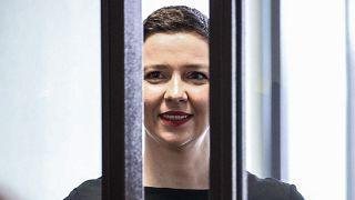 Мария Колесникова на открытии судебного процесса в Минском областном суде, 4 августа 2021 г.
