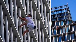 George King-Thompson scaling a building in London's Stratford