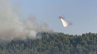 Ελικόπτερο της Πυροσβεστικής πραγματοποιεί ρίψεις νερού κατά τη διάρκεια κατάσβεσης της πυρκαγιάς που μαίνεται στην περιοχή της Λίμνης Εύβοιας,