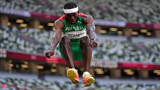 Pedro Pichardo, of Portugal, competes in the final of the men's triple jump at the 2020 Summer Olympics, Thursday, Aug. 5, 2021, in Tokyo.