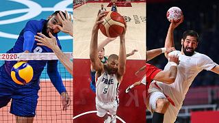 Les français Earvin Ngapeth (volley-ball), Nicolas Batum (basket-ball) et Nikola Karabatic (handball), le 5 août 2021 à Tokyo