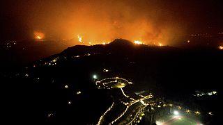 La Grèce toujours en proie aux incendies, ici près de l'ancienne Olympie