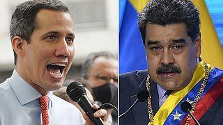 A la izquierda, el líder opositor Juan Guaidó y a la derecha el presidente de Venezuela, Nicolas Maduro.