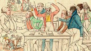 'Bire karşı yedi veya aşı komitesi': İlk aşının mucidi Edward Jenner aşıyı savunuyor. (1800'de yayınlandı)