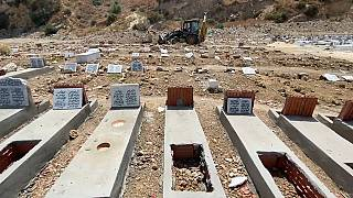 Graves of COVID-19 victims at El Jellaz, Tunis' biggest cemetery.