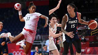 Les Françaises Estelle Nze Minko (handball) et Gabrielle Williams (basket-ball) disputant leur demi-finale des JO de Tokyo, le 6 août 2021