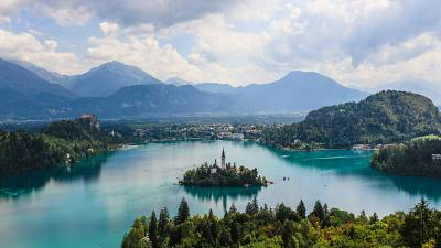 A magnificent view of Bled lake in Slovenia.