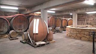 Barrels stored in Laurent Bannwarth's cellar
