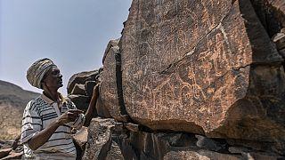 إبراهيم دابل، وهو يفسر النقوش على الصخور البركانية للحياة البرية.