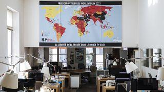 خارطة حرية الصحافة العالمية لعام 2021 ، مقر منظمة مراسلون بلا حدود في باريس.