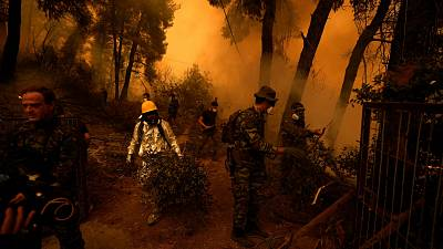 People try to extinguish the flames during a wildfire at Pefki village on Evia island on Aug. 8, 2021.