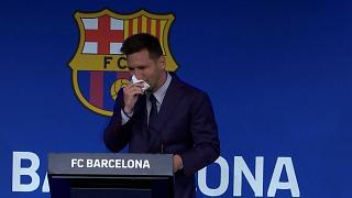 Lionel Messi fought back tears as he began a press conference