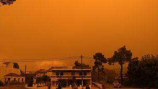 Columnas de humo y cenizas bloquean el sol sobre Eubea la segunda isla más grande de Grecia, mientras un incendio forestal de varios días de duración devora bosques vírgenes.