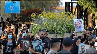 موكب جنائزي في بيروت تكريما لذكرى ضحايا انفجار المرفأ، الأحد 8 آب/أغسطس 2021